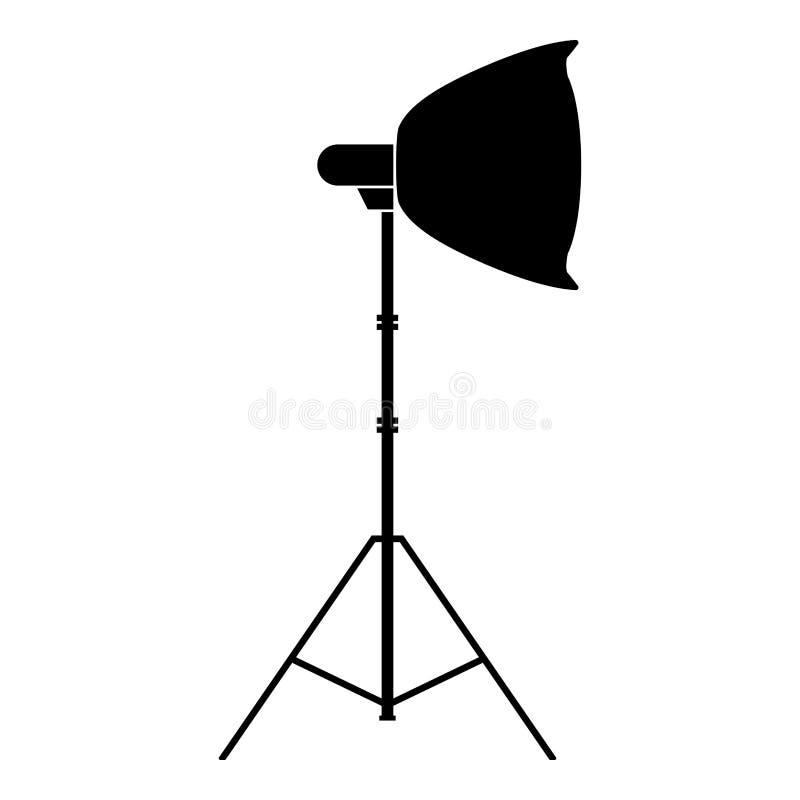 Spotlight on tripod Light projector Softbox on tripod Tripod light Equipment for professional photography Theater light icon. Black color vector illustration stock illustration