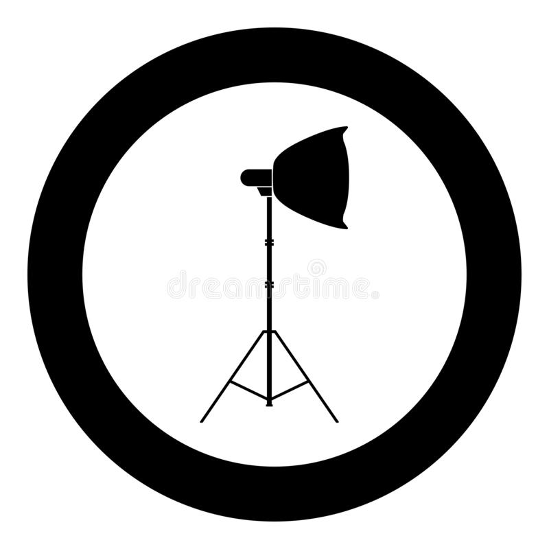 Spotlight on tripod Light projector Softbox on tripod Tripod light Equipment for professional photography Theater light icon in. Circle round black color vector royalty free illustration