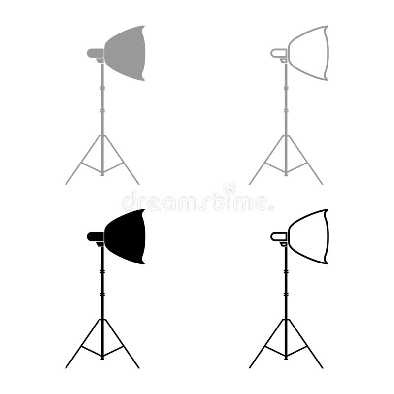 Spotlight on tripod Light projector Softbox on tripod Tripod light Equipment for professional photography Theater light icon set. Black color vector royalty free illustration