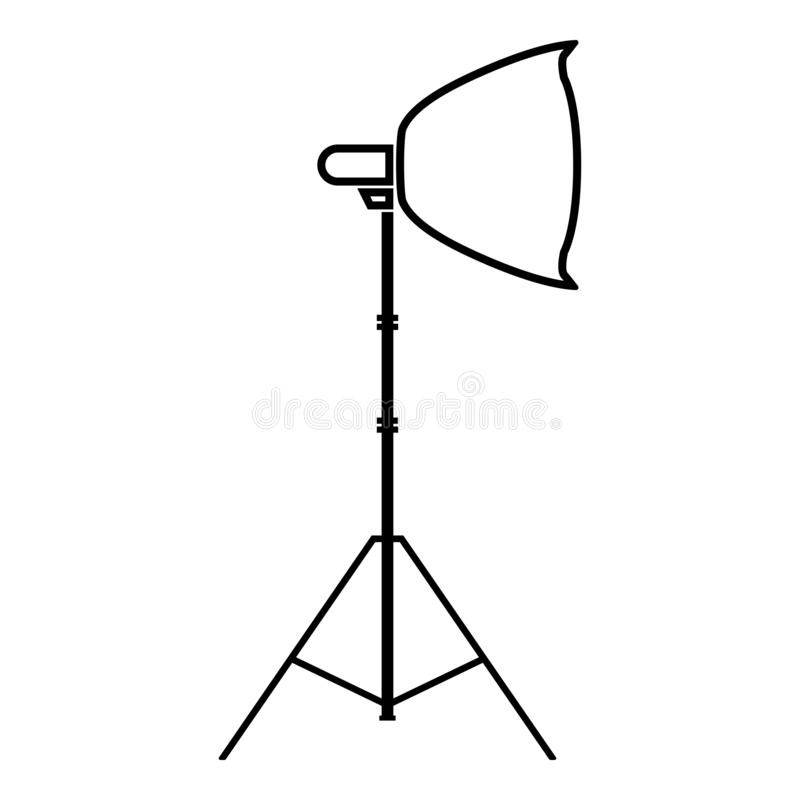 Spotlight on tripod Light projector Softbox on tripod Tripod light Equipment for professional photography Theater light icon. Black color outline vector stock illustration