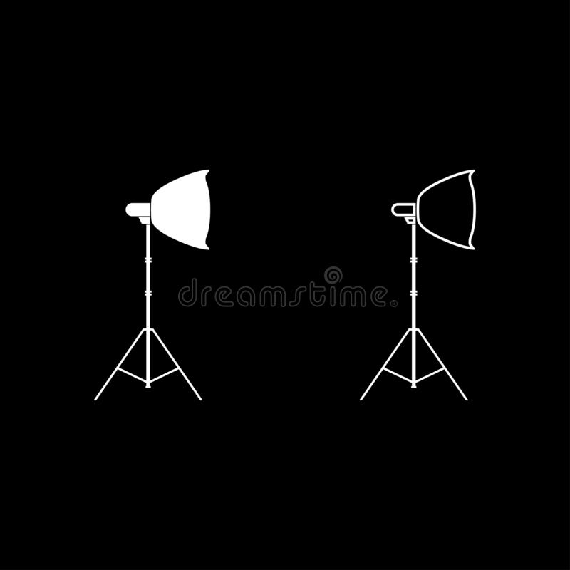 Spotlight on tripod Light projector Softbox on tripod Tripod light Equipment for professional photography Theater light icon set. White color vector royalty free illustration