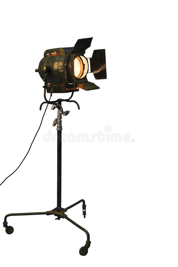 Spotlight tripods. On a white background stock images