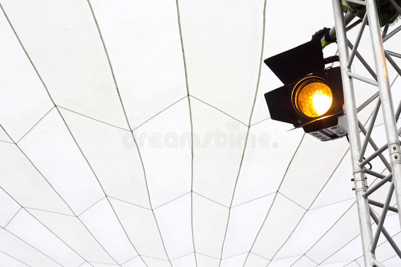 Spotlight on truss in a marquee royalty free stock photography