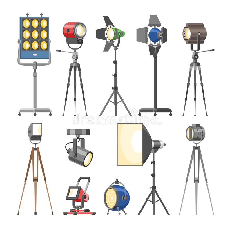 Spotlight vector light show studio with spot lamps on theater stage illustration set of projector lights photographing. Movie equipment isolated on white royalty free illustration