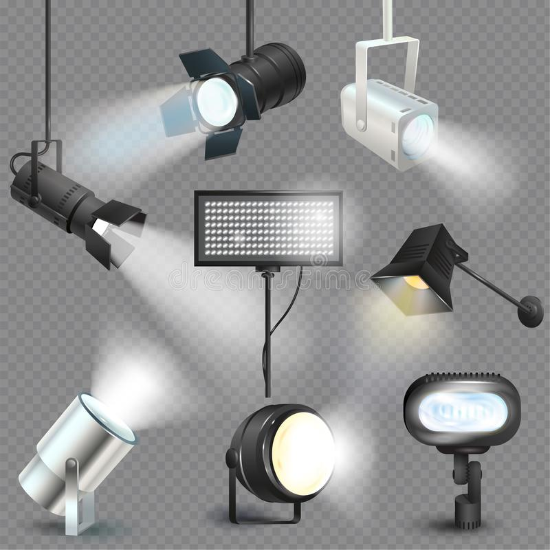 Free Spotlight Vector Light Show Studio With Spot Lamps On Theater Stage Illustration Set Of Projector Lights Photographing Stock Photo - 131626750