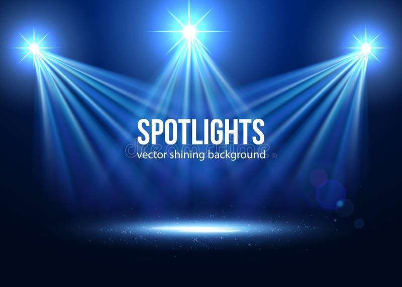 Fancy Club Light Effects In A Dark Background Stock: Spotlight Vector. Scene Illumination Stock Vector