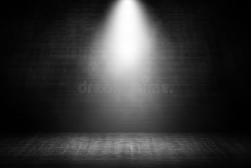 Spotlight white stage steel background. stock image