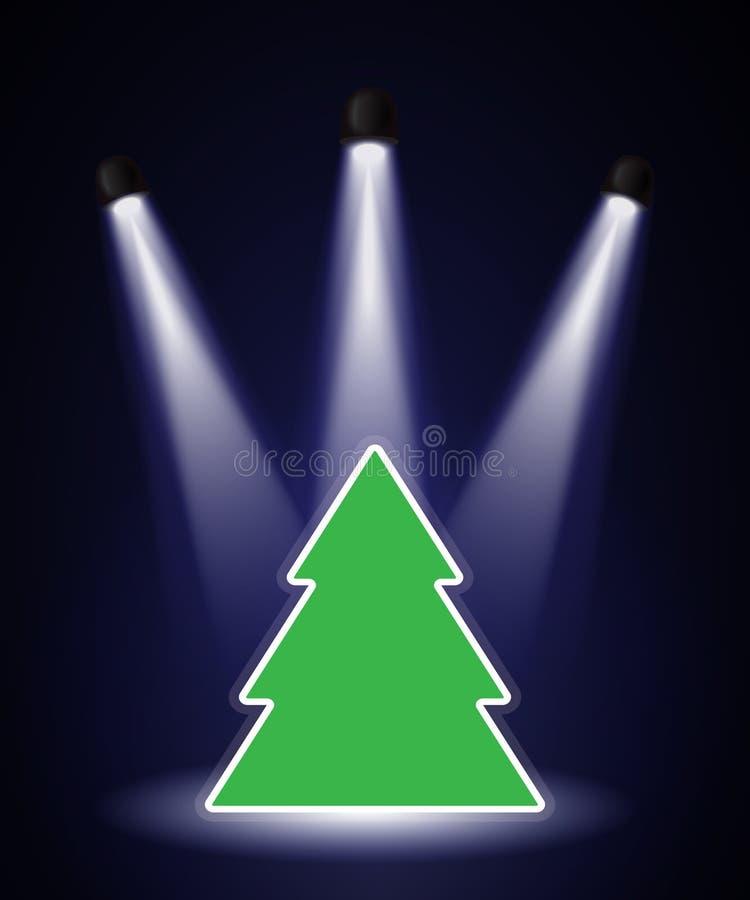 Spotlighted Christmas tree vector illustration