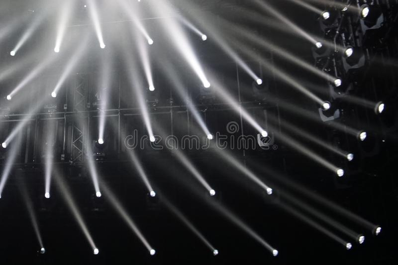 Spotlights. connecting rays of light background. black and white stock photo