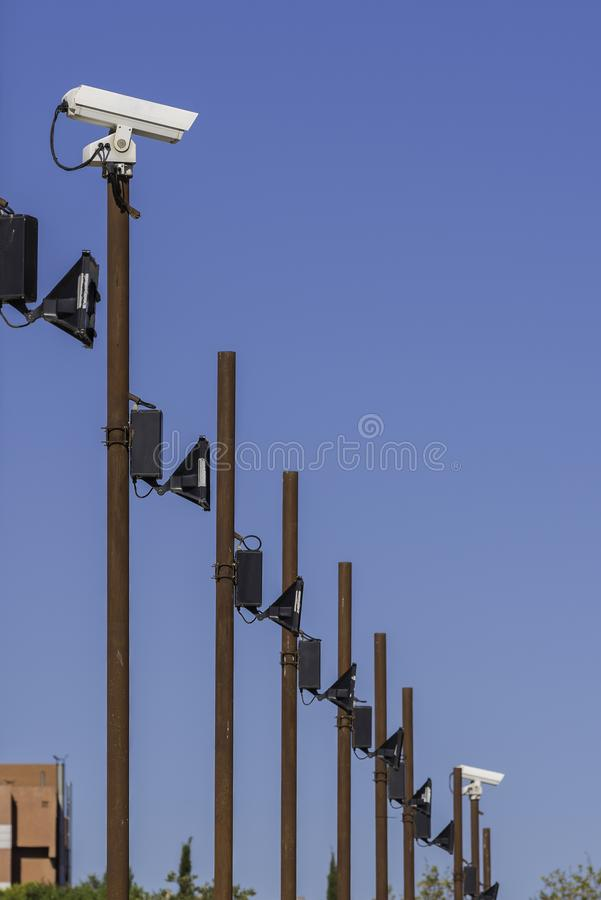 Spotlights and security cams. royalty free stock photo