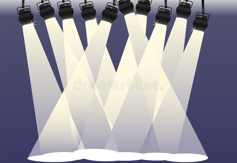Spotlights shine on bright stage background stock illustration