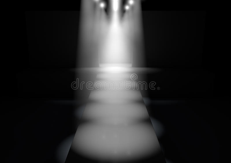 Spotlit Runway. A fashion runway stage lit by a row of spotlights on a dark background vector illustration