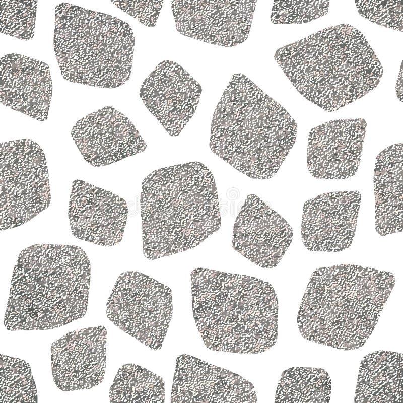 Spots den skinande mosaiken för abstrakt geometrisk silver den sömlösa modellen vektor illustrationer