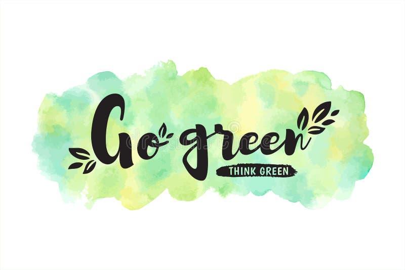 Eco watercolor background, motivation Go green illustration vector illustration