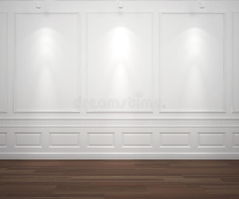 Spotslight on white classis wall. Interior scene of classic white empty wall illuminated by 3 spotlights, big copy space stock illustration