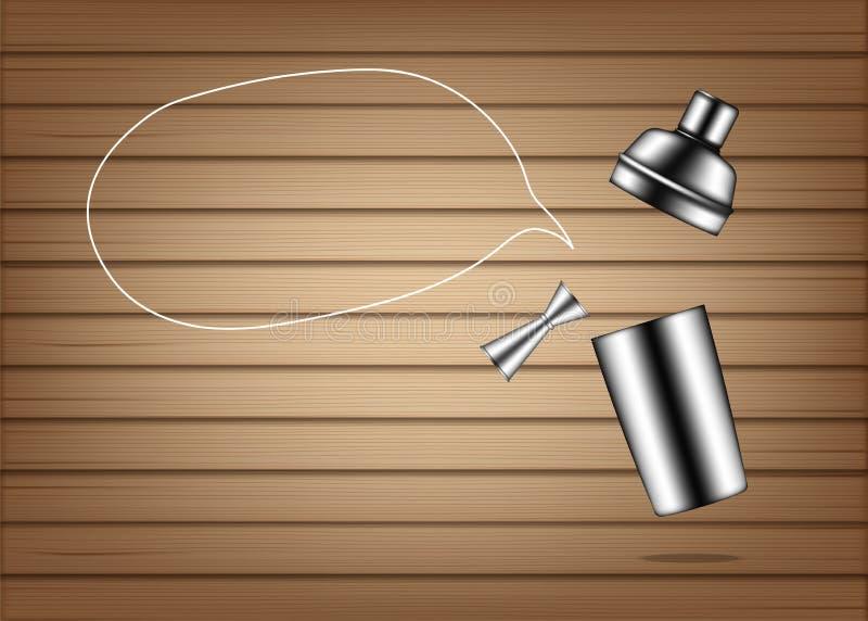 Spott 3D herauf das realistische metallische Shaker Bottle For Cocktail Alcohol-Parteiereignis lokalisiert auf hölzernem Hintergr stock abbildung