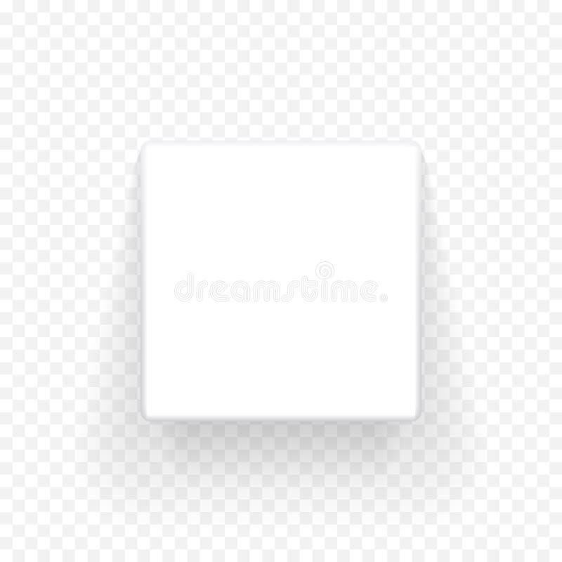 Spott des weißen Kastens herauf Draufsicht des Modells 3D mit Schatten Vektor lokalisierte leere Pappoffene Kasten-Paketschablone vektor abbildung