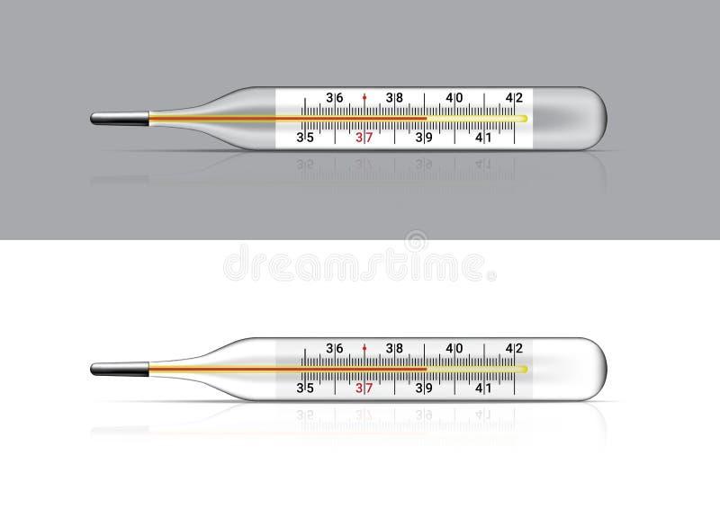Spott herauf den realistischen Thermometer medizinisch für Fieberkontrolle Krankenhaus-Werkzeugkonzeptentwurf auf weißem Hintergr lizenzfreie abbildung