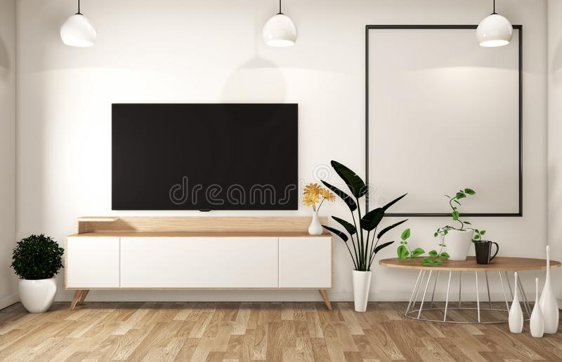 Spott herauf Fernsehkabinett im modernen leeren Raum japanisch - Zenart, minimale Entwürfe renderingMock 3D oben lizenzfreie abbildung
