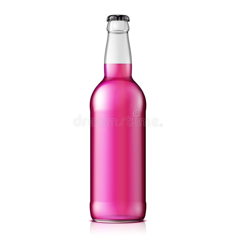 Spott herauf Glas- Himbeer-Erdbeer-Cherry Lemonade Cola Clean Bottle-Rosa auf weißem Hintergrund vektor abbildung