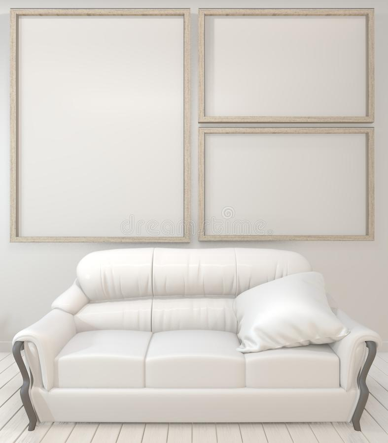 Spott herauf Innenplakatspott herauf Holzrahmen, Sofa, Anlage und Lampe im Wohnzimmer mit minimalem Entwurf der weißen Wand Wiede vektor abbildung