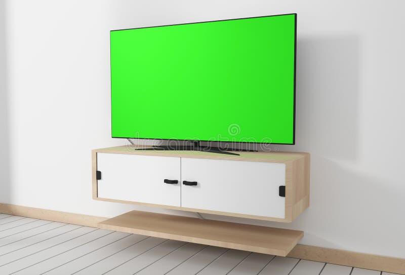 Spott herauf intelligentes Fernsehmodell mit dem leeren grünen Schirm, der in den minimalen Innenentwürfen des modernen weißen le stock abbildung