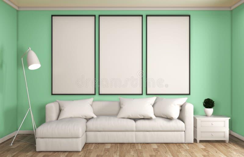 Spott herauf japanische Art der tadellosen Wohnzimmerdekoration, entwarf minimale Zenart Wiedergabe 3d lizenzfreie abbildung