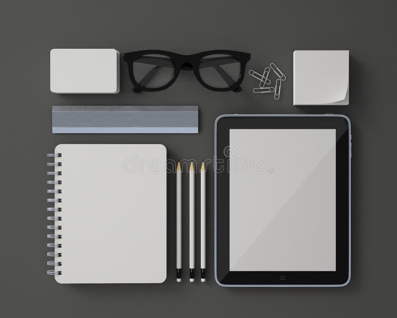 Spott herauf Modell 3d des weißen leeren Briefpapierdesign-Schablonensatzes mit Tablette und der Hindernisse lokalisiert auf grau lizenzfreie stockbilder