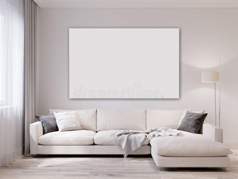 Spott herauf modernen Wohnzimmerinnenraum der weißen Wand lizenzfreie abbildung