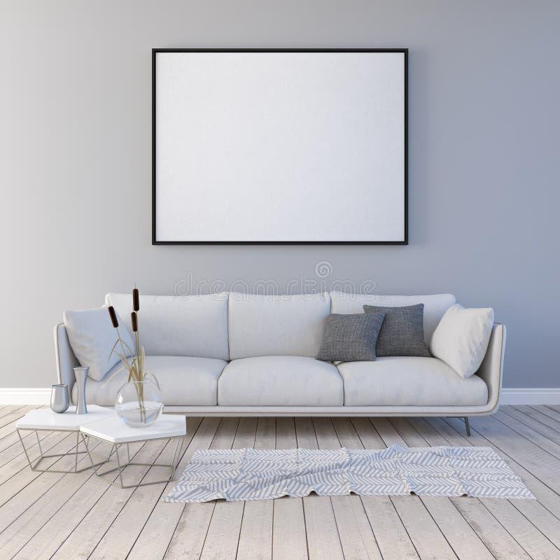 Spott herauf Plakat mit Weinlesehippie-Dachbodeninnenhintergrund 3D übertragen stock abbildung