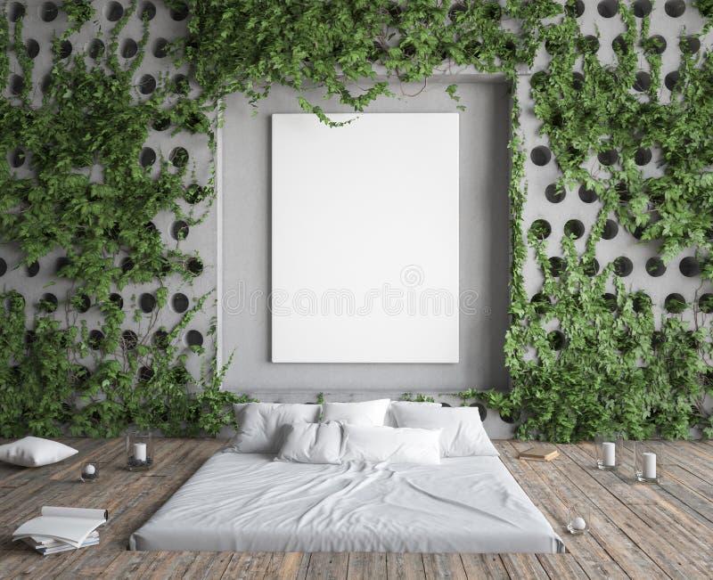 Spott herauf Plakatrahmen im Hippie-Schlafzimmer Bett im Boden und Efeu auf Betonmauern stock abbildung