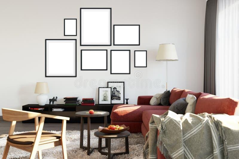Spott herauf Poster im Wohnzimmerinnenraum Skandinavische Innenart 3D Wiedergabe, Illustration 3D stock abbildung