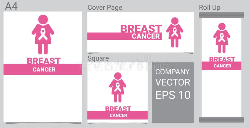 Spott herauf realistische Brustkrebsikone mit rosa Bewusstseinsband und Frauen auf weißer Hintergrund Fahne lizenzfreie abbildung