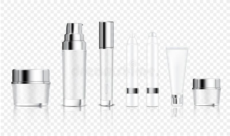 Spott herauf realistische transparente Flaschen-Kosmetik, Glas, Rohr, Bleistift für Grundlagen-Anti-Altern-Serum, Seife, Shampoo, vektor abbildung