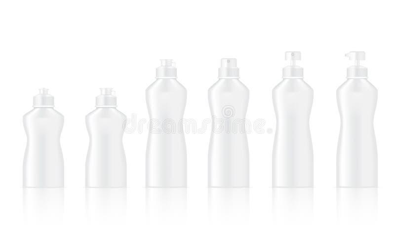 Spott herauf realistische weiße Flasche für Teller-Reinigung, kosmetische Seifen-Pumpe, Shampoo und Spray-Satz-Hintergrund-Illust stock abbildung