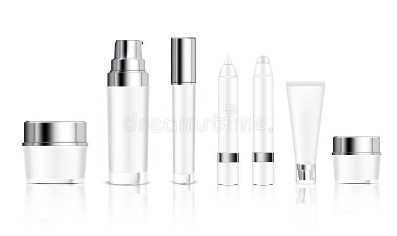 Spott herauf realistische weiße Flaschen-Kosmetik, Glas, Rohr, Bleistift für Grundlagen-Anti-Altern-Serum, Seife, Shampoo, Creme, vektor abbildung