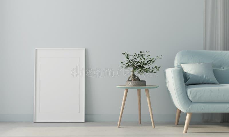 Spott oben Wohnzimmer mit einem blauen Sofa und einem Plakat 3d ?bertragen vektor abbildung