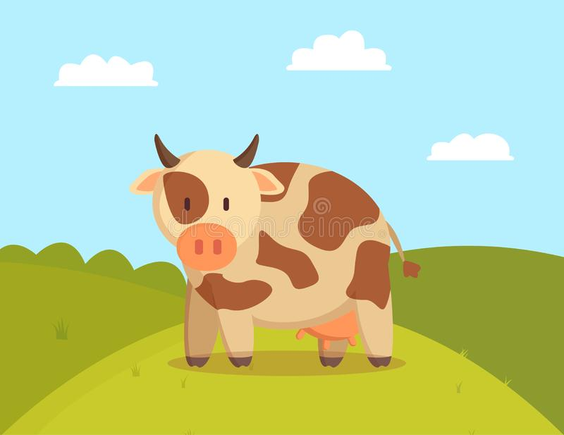 Spotted Cow Graze on Lawn Vector Illustration. Image of domestic animal with small horns and udder for milk production, green meadow with pretty pet stock illustration
