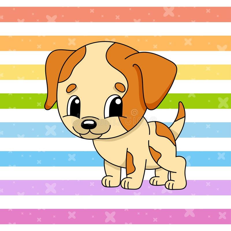 Spotted dog. Cute character. Colorful vector illustration. Cartoon style. Isolated on color background. Design element. Template. Cute character. Colorful vector stock illustration