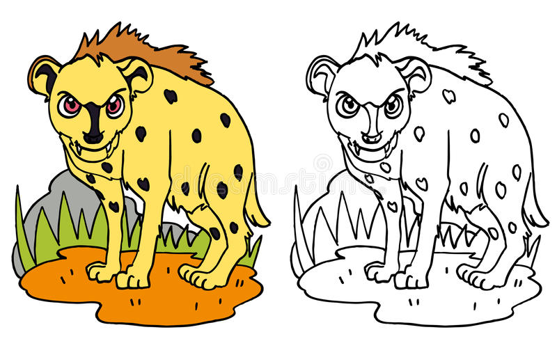Spotted hyena in the clearing. A yellow spotted hyena searching for its meel with attention. This particular carnivorous appears in a lot of human stories and vector illustration