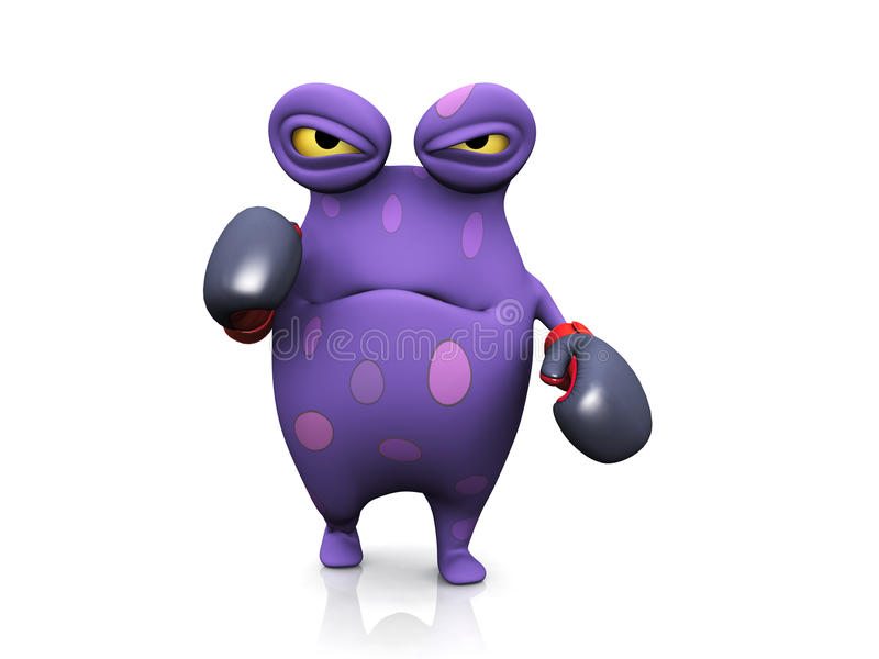 A spotted monster wearing boxing gloves. A cute charming cartoon monster wearing boxing gloves. He looks angry, ready to fight. The monster is purple with big stock illustration