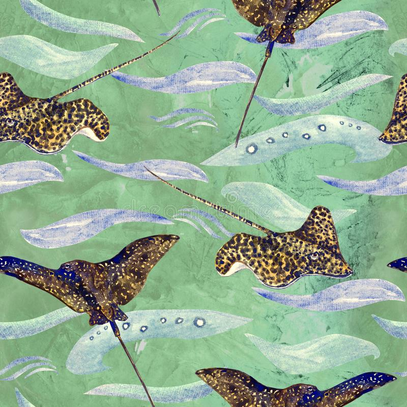 Spotted stingray, hand painted watercolor illustration, seamless pattern on green, blue ocean surface with waves. Background stock illustration