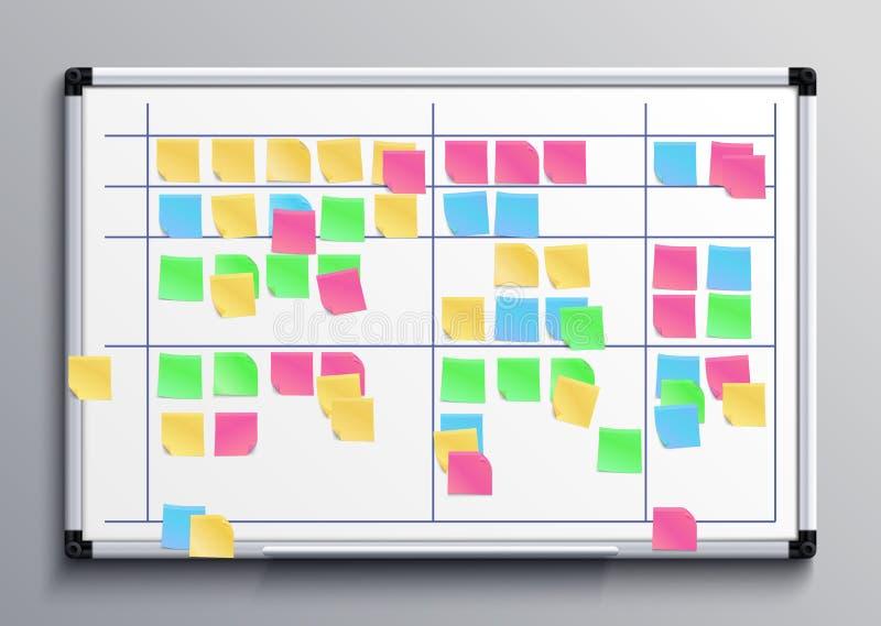 Spotykać białą deskę z kolorów majcherami Młynu zadania deska z kleistymi notatkami dzienna planu wektoru ilustracja ilustracja wektor