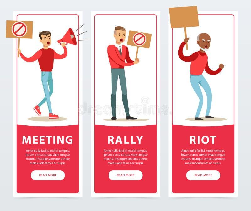 Spotykający, wiec, zamieszka sztandary ustawiający, gniewni mężczyzna trzyma palika wyraża żądania i protestującego mieszkanie po royalty ilustracja