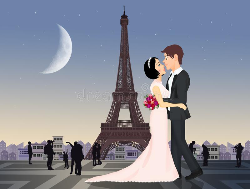 Spouses traveling to Paris. Illustration of spouses traveling to Paris royalty free illustration