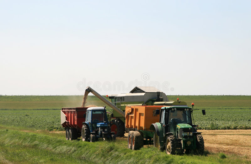 Download Spouting Corn Combine Harvester Stock Photo - Image: 4068346