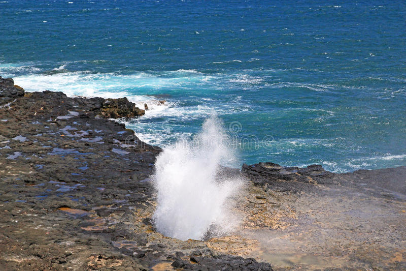 Spouting Horn Blowhole. On the beach in the Island of Kauai are natural lava tubes that channels water through them and blow 60 feet high during large swells stock photography