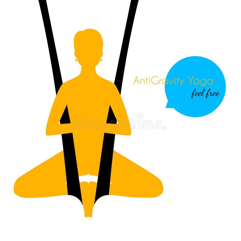 Spoważnienia joga poz kobiety sylwetka royalty ilustracja