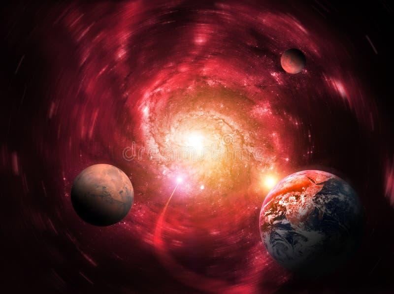 Spoważnienie masywna czarna dziura opóźnia planety Końcówka świat royalty ilustracja