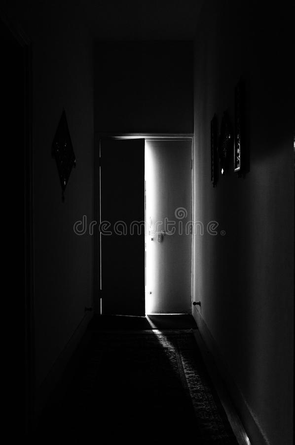 Spooky door ajar royalty free stock images